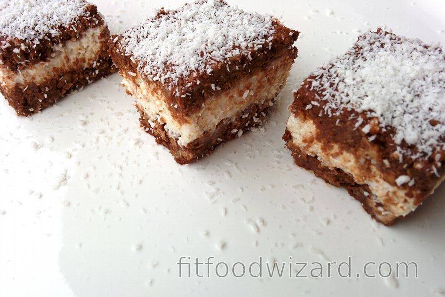 Cocoa Squares with Quark and Coconut Filling