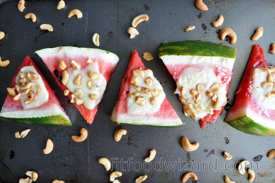 Baked Watermelon with Mozzarella and Nuts