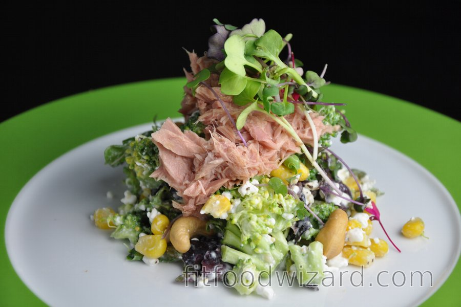 Fit Broccoli Salad with Cottage Cheese, Tuna and Corn