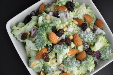 Healthy Broccoli Salad with Raisins and Almonds