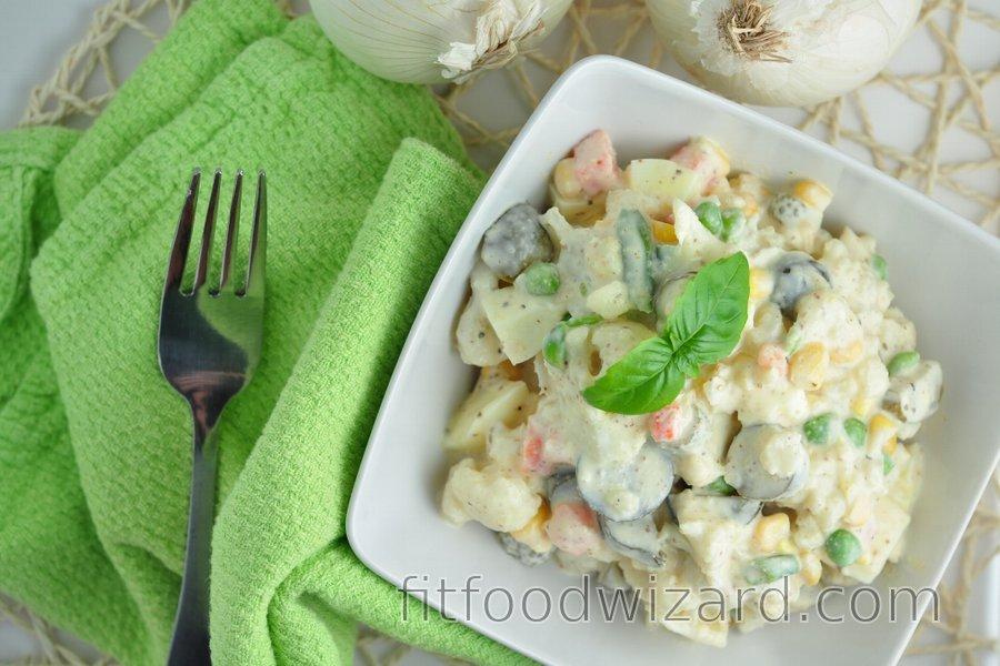 Light Cauliflower Salad (Low Calorie, Low Fat)