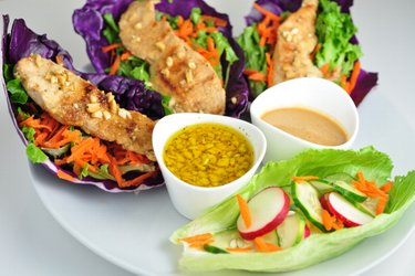Veggie chicken wraps with two sauces