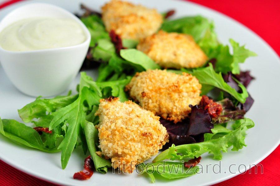 Simple baked chicken nuggets in yogurt crust
