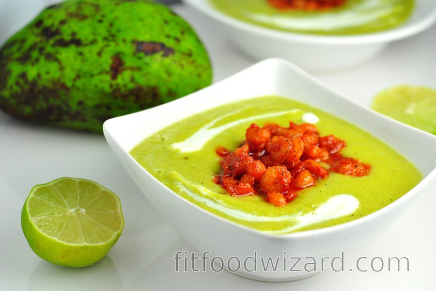 Cold avocado soup with spicy shrimp