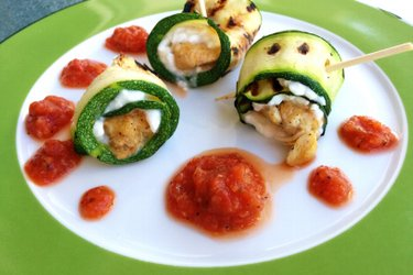 Chicken-Zucchini Rolls with Cottage Cheese and Tomato Sauce