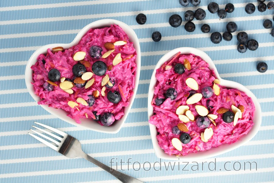 Creamy beetroot-apple salad with blueberries