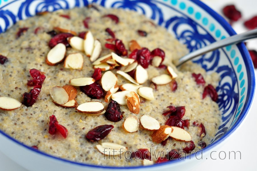 Milky bulgur with chia seeds and cranberries