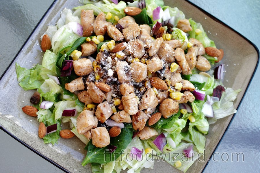 Healthy Chicken Salad with Red Onion and Almonds
