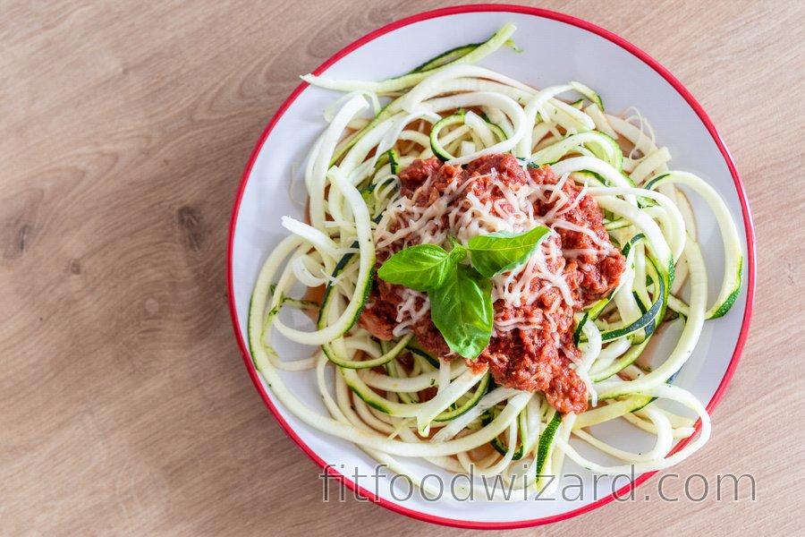 "Skinny Zucchini ""Spaghetti"" with Tuna Sauce"