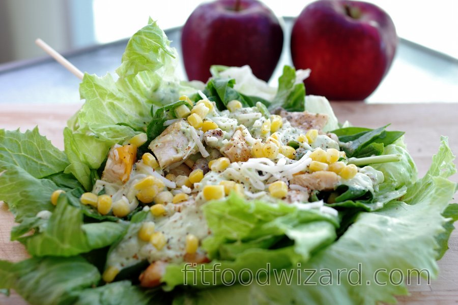 Light Chicken Sandwich in Salad with Avocado Dressing