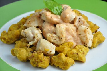 Pumpkin Gnocchi with Chicken and Cheesy Sauce