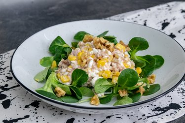 Tuna Salad with Cottage Cheese, Corn and Walnuts