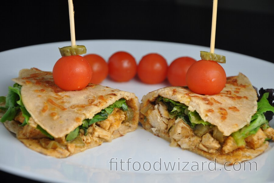 Healthy Chicken Stroganoff in Homemade Whole-Wheat Cheese Tortillas
