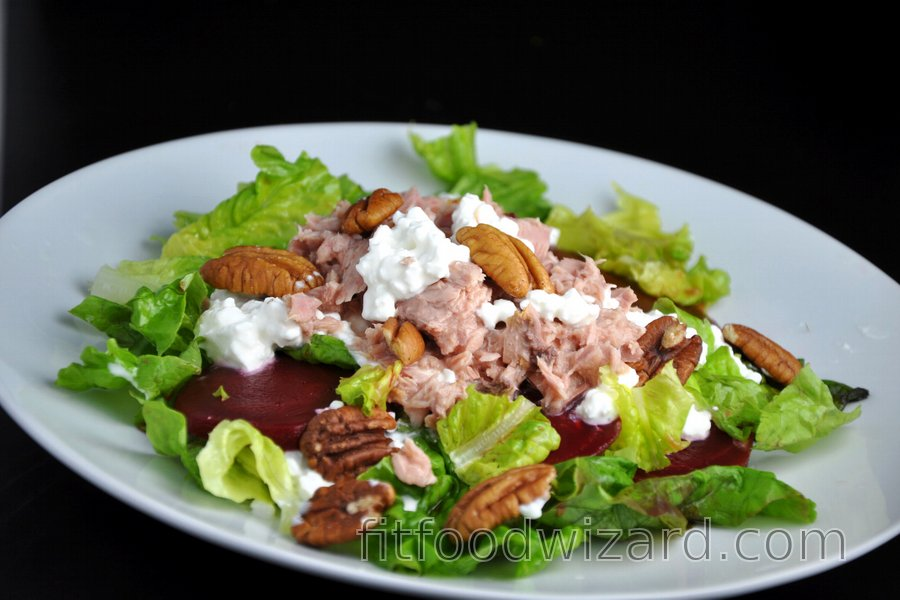Healthy Tuna Salad with Beetroot and Nuts