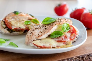 "Roasted chicken breasts ""Caprese"" with tomatoes, basil, and mozzarella"