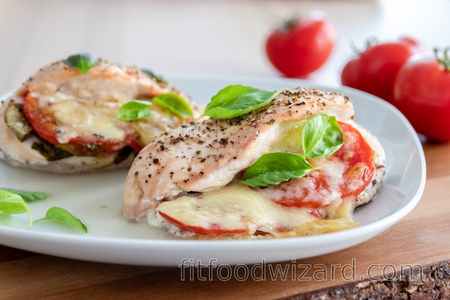 """Roasted chicken breasts """"Caprese"""" with tomatoes, basil, and mozzarella"""