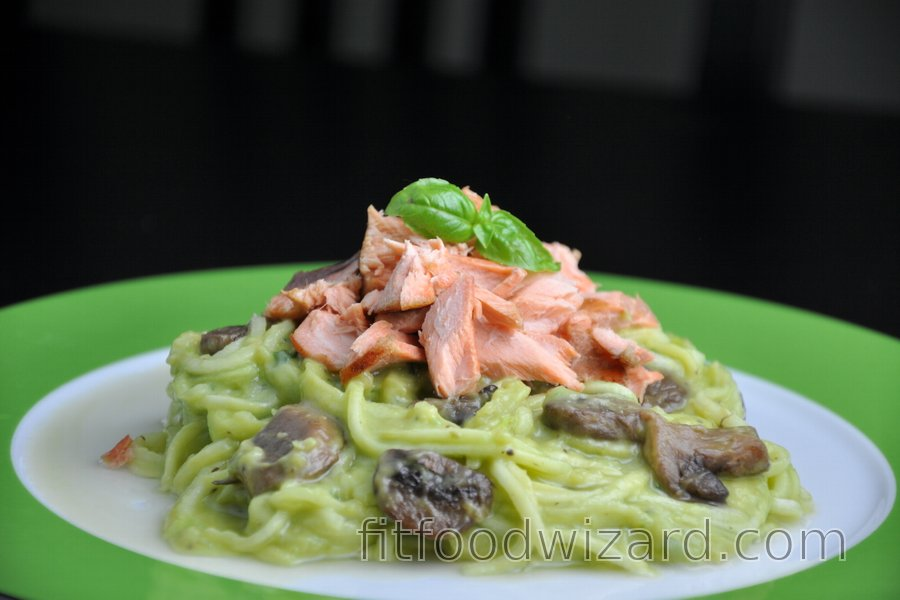 "Zucchini ""Spaghetti"" (Zoodles) with Salmon and Creamy Avocado Sauce"
