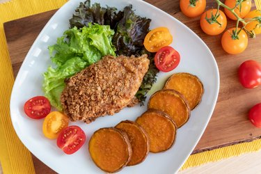 Baked fitness schnitzel with sweet potatoes