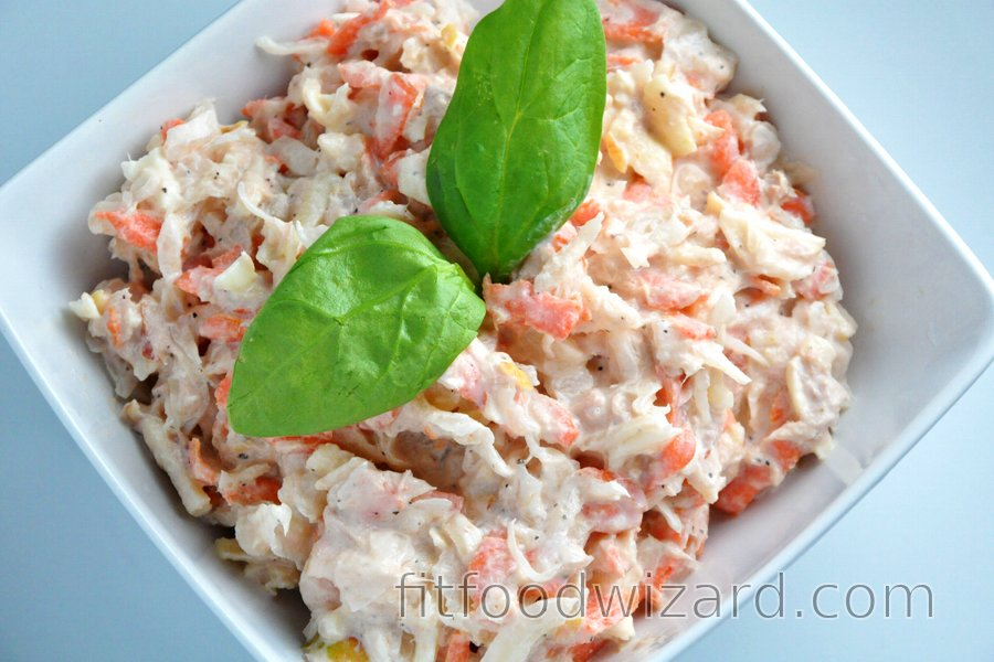 Tuna Salad with Sauerkraut, Carrot and Apple